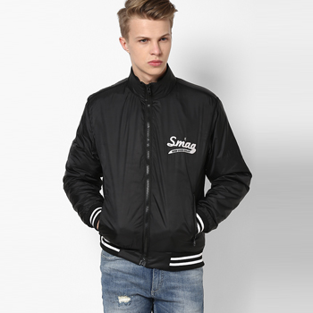 Solid Black Casual Jacket