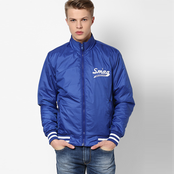 Solid Blue Casual Jacket