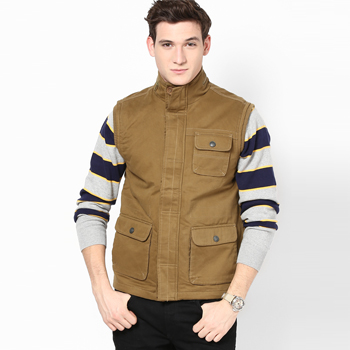 Solid Khaki Casual Jacket