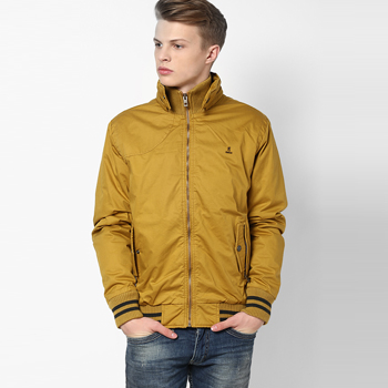 Solid Mustard Yellow Casual Jacket