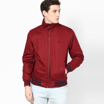 Solid Red Casual Jacket
