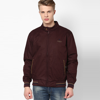 Solid Wine Casual Jacket